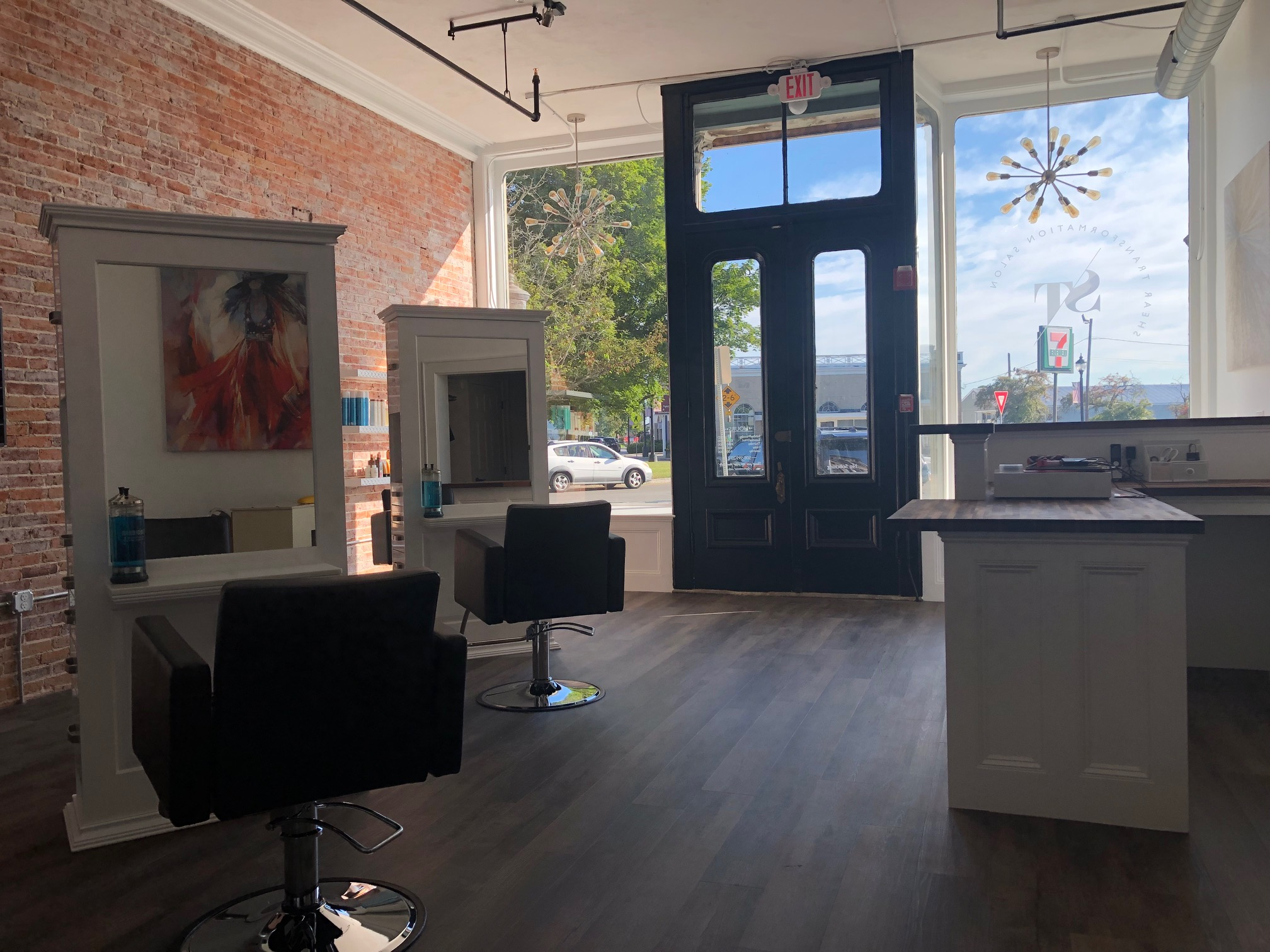 photo of the front door of Shear Transformation Salon in Westborough MA